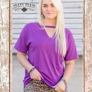 Crazy Train Textline V Neck Shirt in Purple